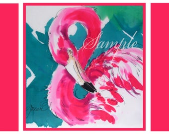 Bright Pink Flamingo Painting Impressionistic Note Card with Envelope