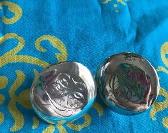 Sterling silver vintage earrings engraved