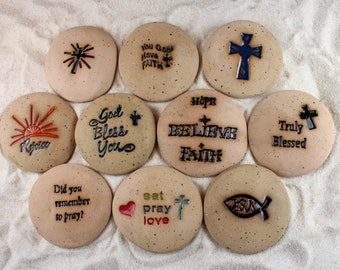 Painted Rocks, Religious Stones, Cross, God Bless You Set of 10 Ceramic Message Stones, Rock Art, Inspirational Art, Pocket Stone