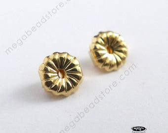 2 pcs 5mm Premium 14K Yellow Gold Ear Nuts Solid Real Gold Backing Replacement 14KG17