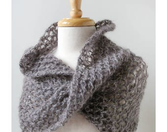 Gretchen Mohair and Silk Hand-Knit Shoulder Wrap / Scarf, Soft Grey, Gray, Lace, Lightweight, Infinity Scarf, Cozy, Hygge, Warm, Lightweight