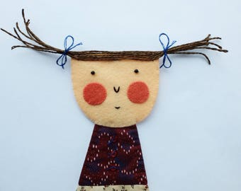 Shy Girl - Joan - Wall Hanging - Figure - Art Doll - Wall Decor