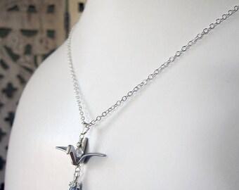 Lucky Cranes Necklace 2017 - Silver Bird Pendant with Blue Quartz