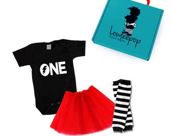 ROCKSTAR BABY Kit ONE black onesie Red tutu striped leg warmers & optional gift box