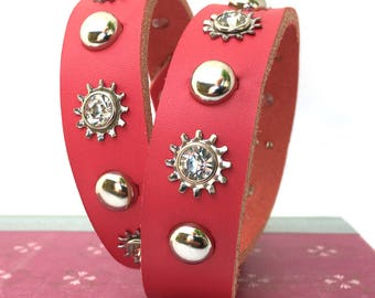 Large Dog Hot Pink Leather Collar with Rhinestone Industrial Flowers and Silver Studs, Size L, to fit a 18-21 Neck, Seattle Handmade
