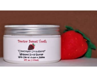 Chocolate Covered Strawberry Whipped Body Butter with Argan & Jojoba Oil