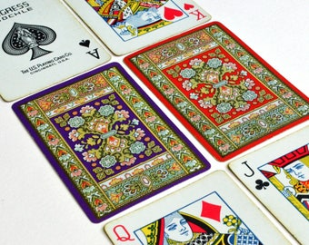 Floral Tapestry Design Congress Pinochle Playing Cards - Two Complete Decks (Open and Sold Separately)