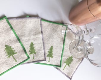 Cocktail Napkin Set of Four with Evergreen Tree design-Handmade in Seattle, 100% cotton cloth coaster, Pacific Northwest