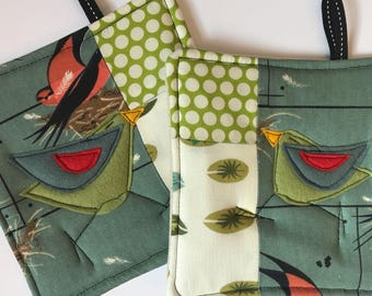 Patchwork Pot Holder Set,organic cotton, green, gifts for cooks