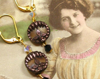 1800s mini BUTTON earrings, Art Nouveau tiny glove buttons on gold. Antique button jewellery.