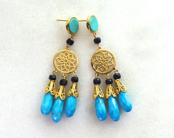 Long Sleeping Beauty Turquoise, Blue Sapphire Gold Chandelier Earrings...