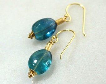 AAA Indicolite Blue Fluorite, 22kg Vermeil Drop Earrings...