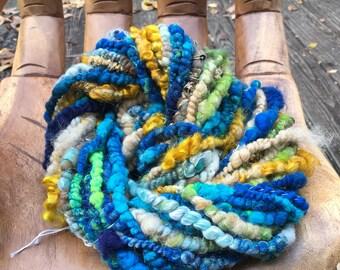 Handspun Art Yarn-Beach Day- Signature WildPlied Artisan Yarn