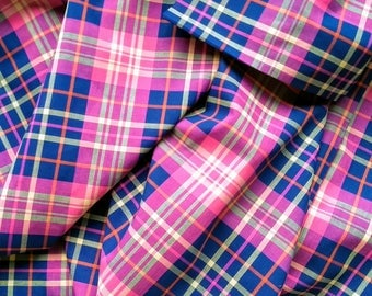 Designer Closeout FABRIC - Yard Dyed Plaid Shirting in Pink Purple