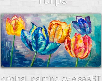 Original abstract flower art oil painting muti-clolors tulips on gallery wrap canvas Ready to hang by tim Lam 48x24