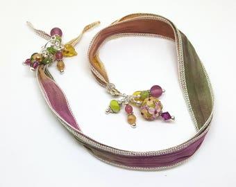 Beautiful Silk Ribbon Bookmark Book Thong With Artisan Handmade Lampwork Glass Focal Bead in Tan Peach Olive Rose