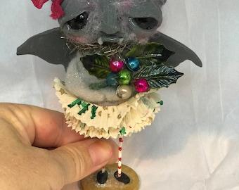 Grey Christmas Bat Ooak  art doll