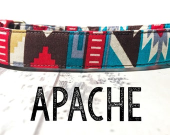 "Red Brown Bold Colorful Southwestern Dog Collar - Organic Cotton - Antiqued Brass or Silver Hardware - ""The Apache"""