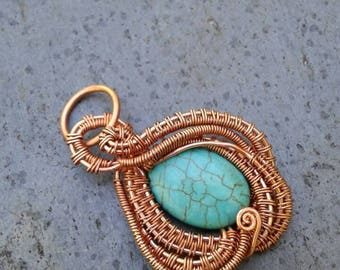 Turquoise pendant wire wrapped with copper wire