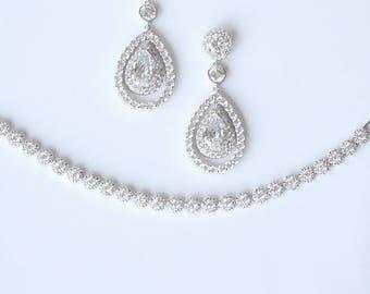 Bridal Jewelry Set Earrings Bracelet Choker Necklace Wedding Jewelry Big Sur Wedding Cocktail Jewelry