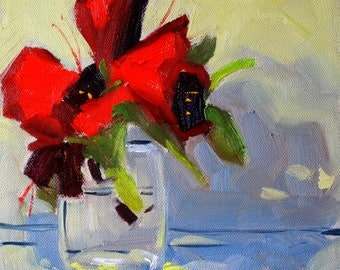 Red Floral Painting, Original Oil, 8x8 Canvas, Still Life, Rhododendron, Spring Flowers, Glass Vase, Blue Shadows, Small Square Format