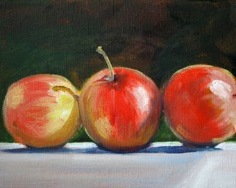 Original Still Life, Oil Painting, Apple Kitchen Art, Red Fruit, White  Tablecloth
