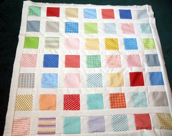 HANDMADE QUILT TOP, ready to finish, 49 by 49 inches, bright colors, lap quilt, toddler, infant, shower gift,  wheelchair, Moda fabric