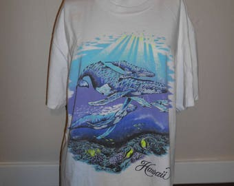 Vintage Hawaii Hawaiian tourist T-shirt     whales dolphin fish   80s 90s neon