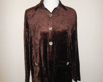 Vintage 90s Beautiful soft velvet brown   blouse cover up    button up      clothing clothes