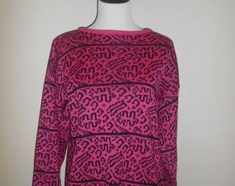 Closing Shop 40%off SALE Vintage abstract sweater     pink                     womens women ladies clothing clothes