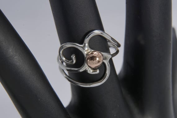 Curly Sterling Silver Ring with Copper Accent (custom fit to any size)