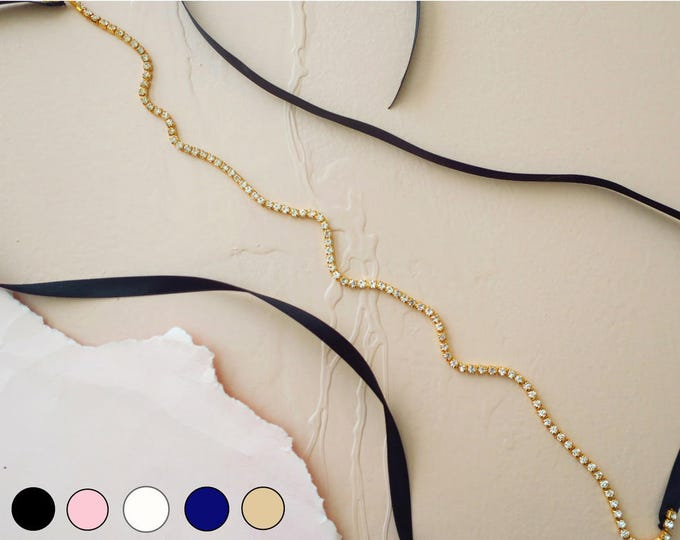 Thin Rhinestone Belt for Dress