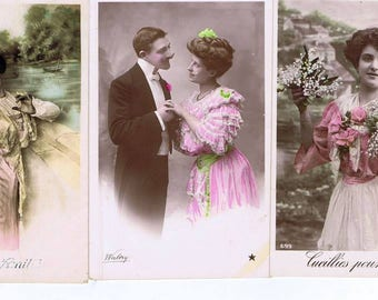Anitque Postcard,French Canadian,Varennes,Set of Three,Quebec.Collectibles,Rare,Vintage Paper Goods,Boho Chic,Home Deco.Romantic.Floral.eco