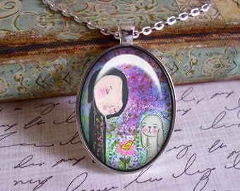 Friends, original art, mixed media, art pendants, only 5 pendants made of each design,bunnies, whimsy,birds