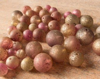Vintage Rare Haskell Frosted Lucite Beads Gold Sponged Bead Assortment - Big Lot of 46