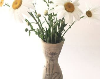 Pale Yellow + Green Buttercup Pin Vase
