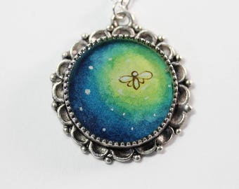 The Firefly, a Hand-painted Watercolor Necklace in Silver