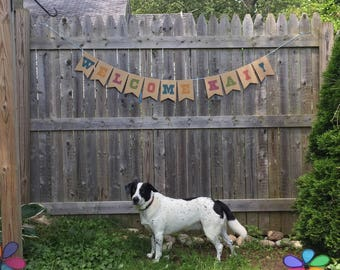 Personalized Paper Party Garland, Woodgrain Banner, paper wood sign, shower decoration, birthday decor, craft booth sign, baby name decor