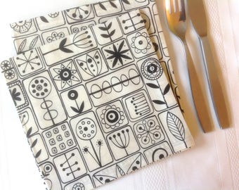 Lunch Dinner Napkins Eco Friendly 100% Cotton Fabric Lunch Dinner Napkins  Ivory Black - set of 6