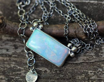 Opal sterling silver bar necklace