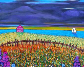 country flower cottage, seascape,coastal, Shelagh Duffett Print