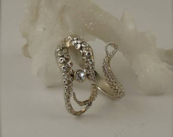 SALE SALE - Diamond Engagement Ring, Wedding Band, Sterling Silver, 14K gold bezel Octopus Jewelry, Tentacle Jewelry, Men's jewelry