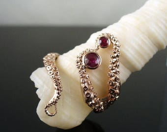 SALE Wicked in Rose Gold with Rubies, Tentacle Ring, Octopus Ring, Wedding Band, Engagement Ring, Bridal Jewelry
