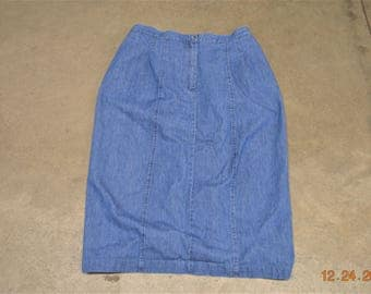 Vintage Blue Jean Skirt size 14,Made in USA,100% Cotton,Button metal zipper Front,Back Split Vent 70's -80's