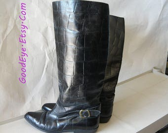 Vintage Leather Harness Boots Made in ITALY / size 8 N Eu 38 .5 UK 5 .5  Narrow Width / Black Riding Boot Croc Embossed