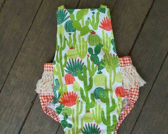 Cactus Romper, Baby girl sunsuit with orange houndstooth back