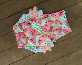 Watermelon Romper, Baby girl sunsuit with blue ticking back and peachy chiffon ruffle