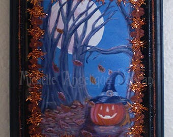 Original Halloween art framed print Jack o lantern Autumn Fall painting wall hanging decoration spooky vintage style home decor