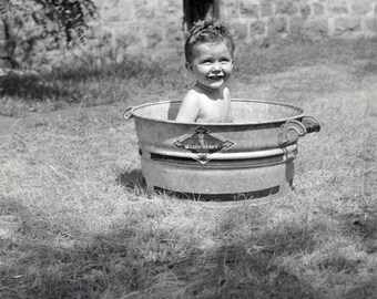 vintage photo 1937 Cutest Little Baby Girl Bucket Swimming Pool in Summer