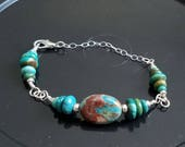 Sterling Silver bracelet with turquoise and Chrysocolla